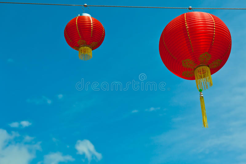 Download Red Chinese Paper Lanterns Against A Blue Sky Stock Image - Image: 35869933