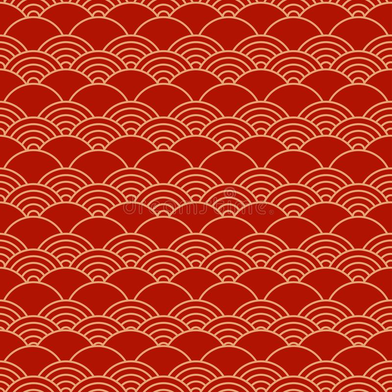 Red chinese seamless pattern, oriental background. Vector. Illustration royalty free illustration