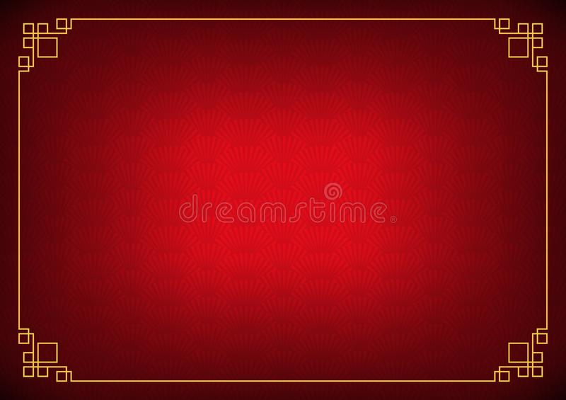 Red chinese shadow fan abstract background with yellow border stock illustration