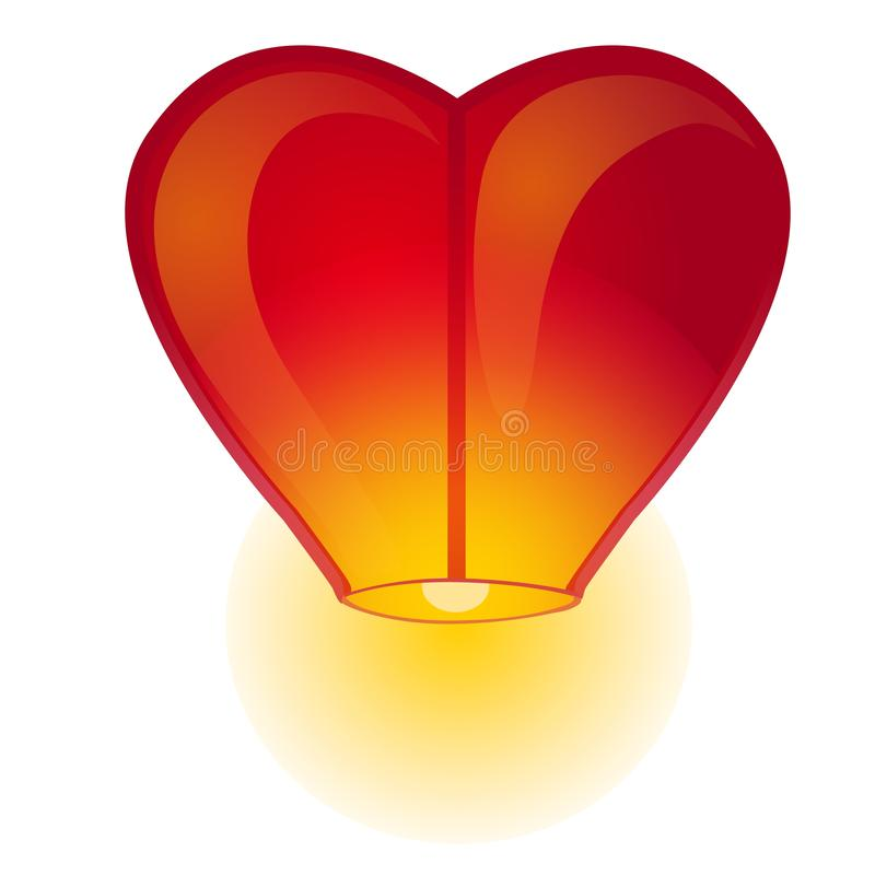 Red Chinese sky lantern in the shape of heart isolated on a white background. Vector cartoon close-up illustration. Red Chinese sky lantern in the shape of vector illustration