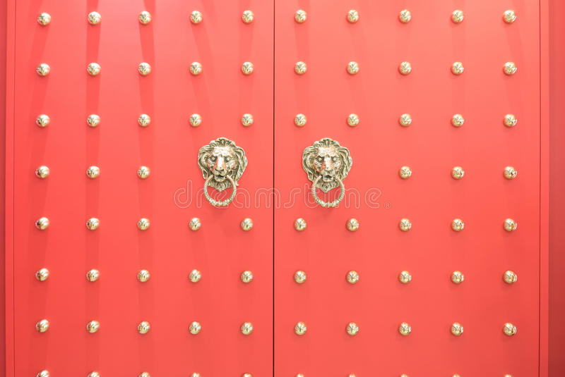 Red Chinese temple wooden door royalty free stock image