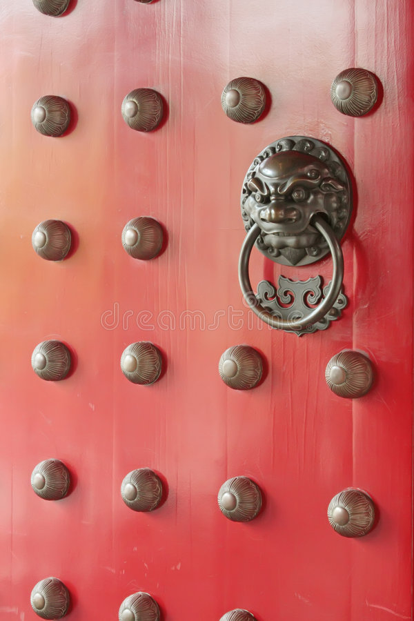 Red Chinese Traditional Door Stock Photography