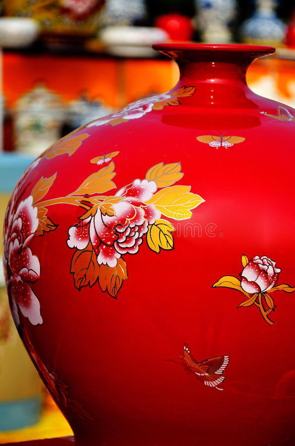 Red chinese vase stock photos