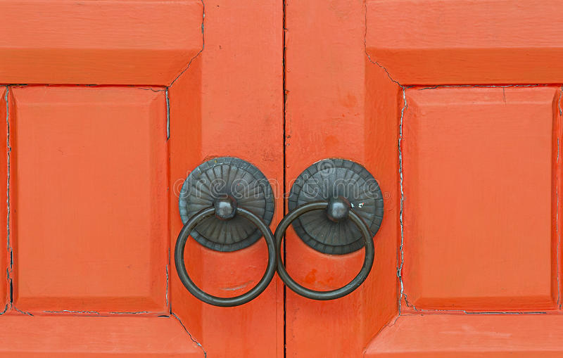 Red Chinese wooden gate stock image
