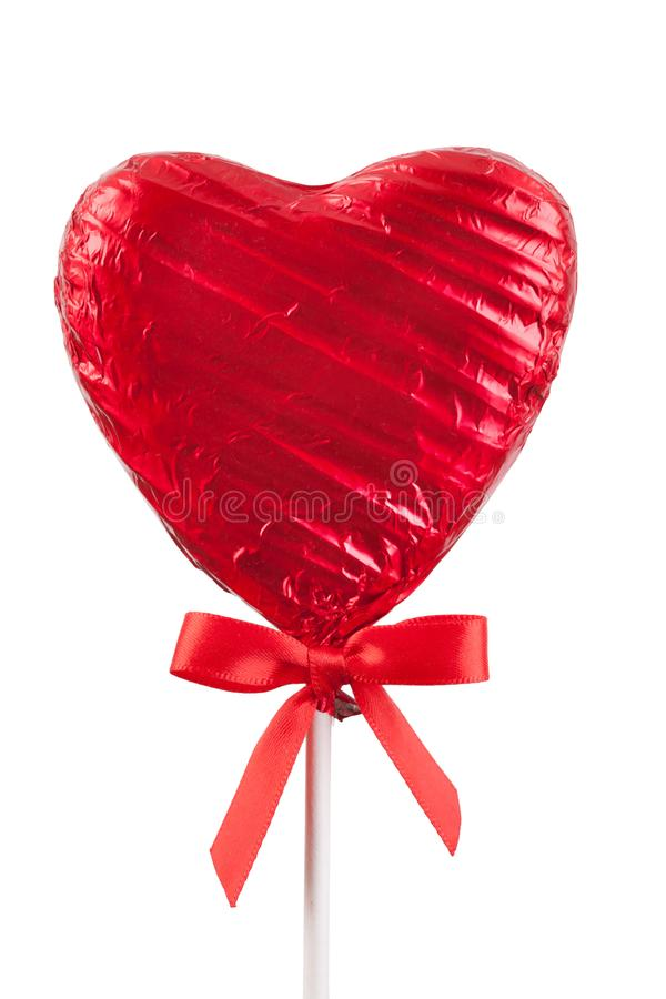 Red Chocolate love heart lollypop isolated royalty free stock photos