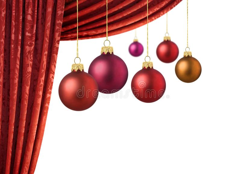 Red Chrismas Balls And Red Curtain Free Stock Photography