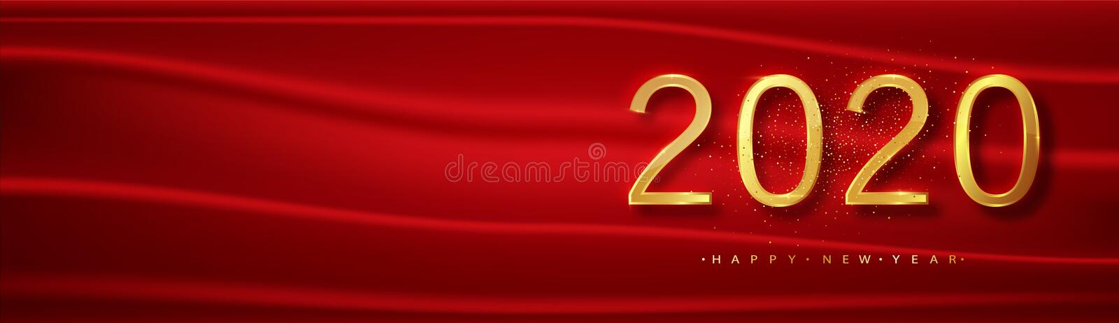2020. Red Chrisrmas New Year background . Greeting card or poster with happy new year 2020 with gold glitter and shine vector illustration