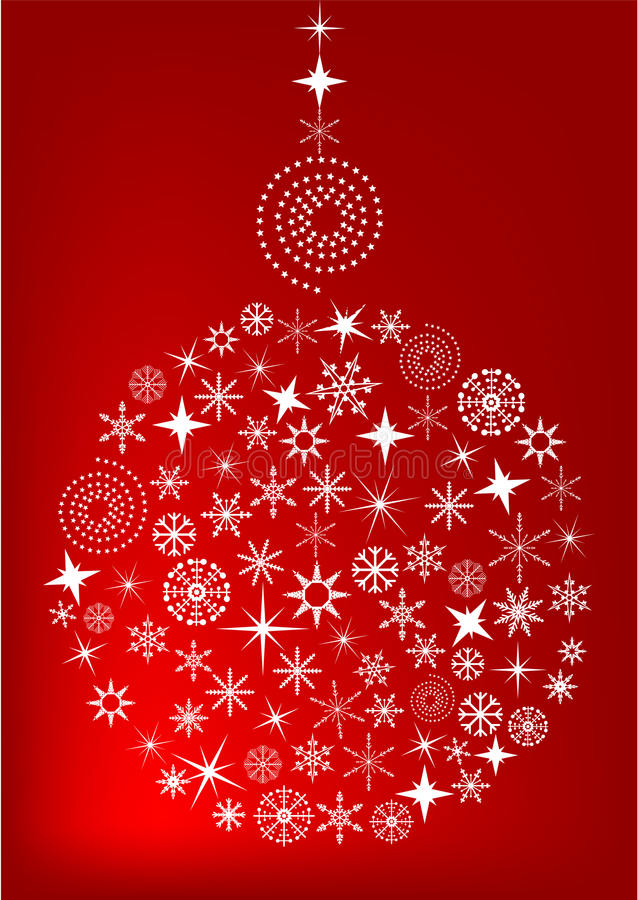 Red Christmas background with ball stock illustration