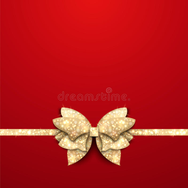 Red Christmas background with gold bow stock illustration