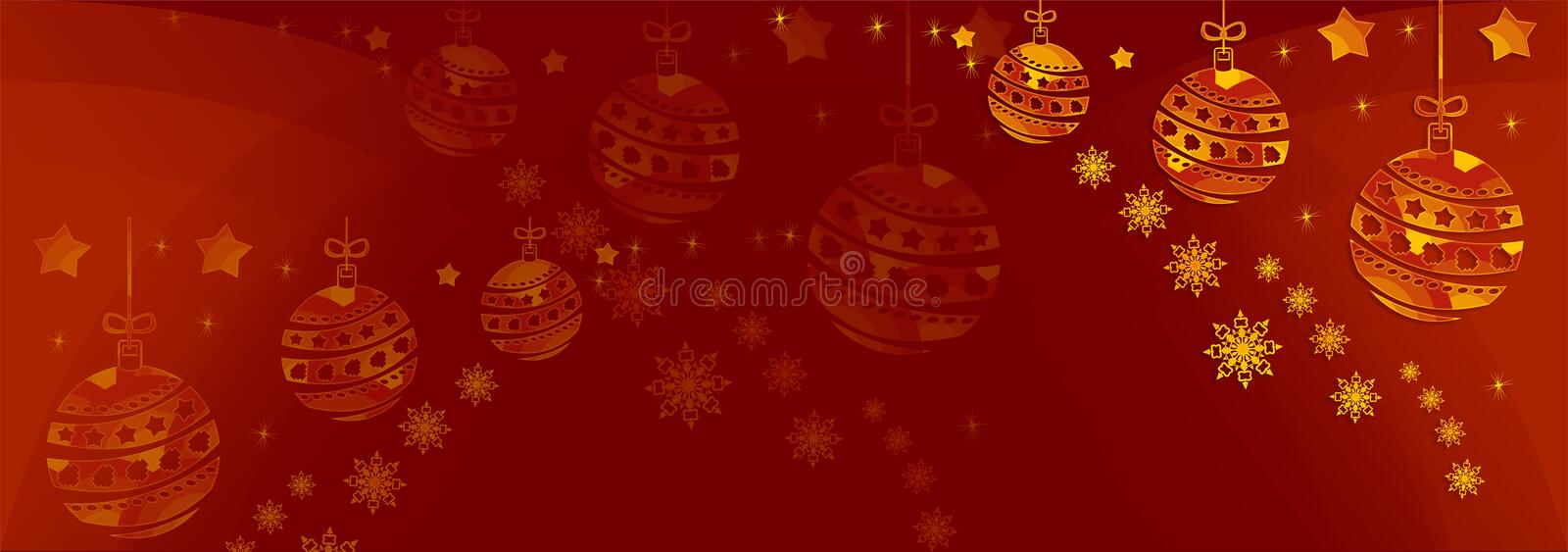 Christmas Illustration A Red Christmas background with gold baubles & snowflakes. royalty free stock photo