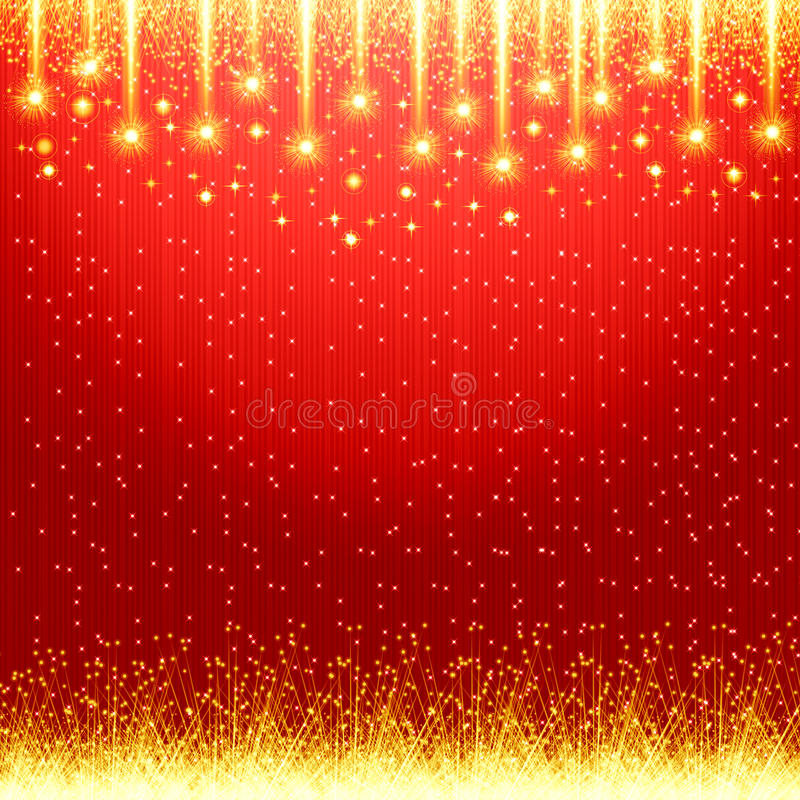 Red christmas background. With golden light stock illustration