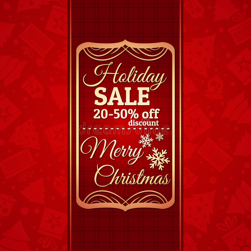 Download Red Christmas Background And Label With Sale Offer Stock Vector - Image: 34892961