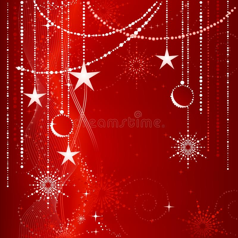red christmas background with ornaments stock vector