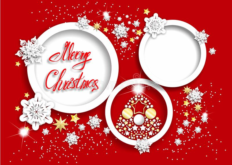 Red christmas background with shining snowflakes stock photos