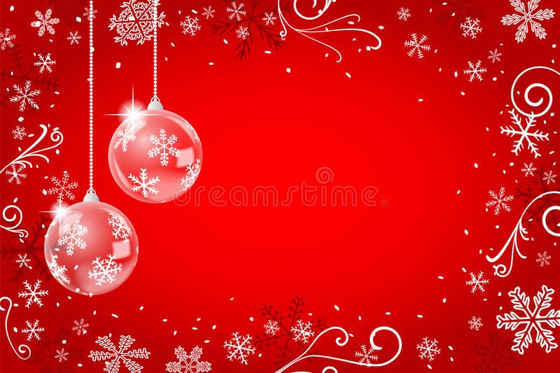 Red christmas background with snowflakes vector illustration