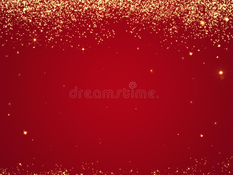 Red Christmas background texture with stars falling from above. Vacation and travel. Background for banners and postcards. Congratulation wishes