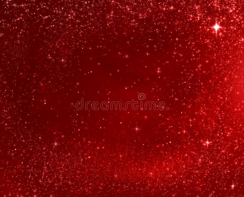 Red Christmas background texture with stars falling from above. stock images