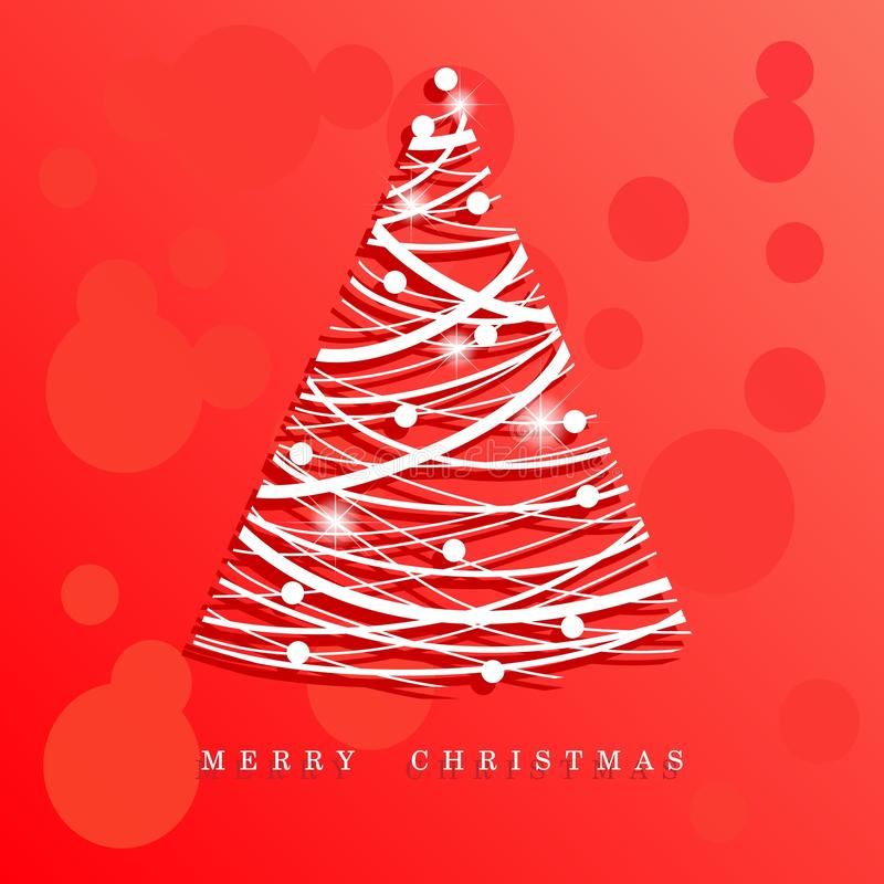 Red christmas background with christmas tree stock photography