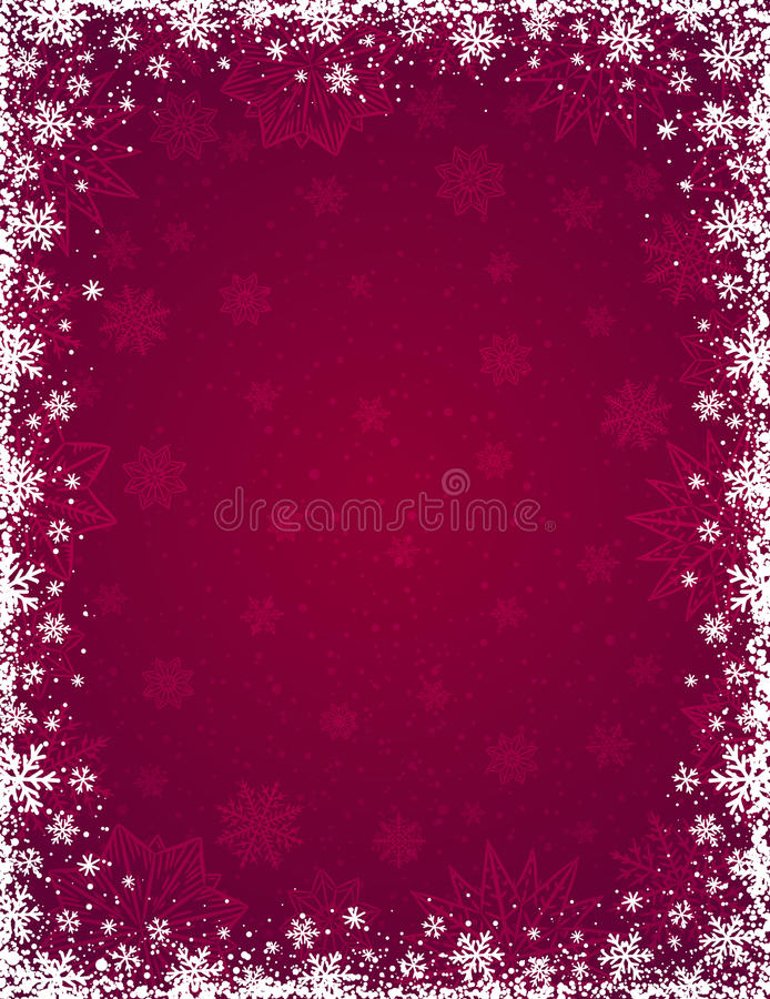 Free Red Christmas Background With Frame Of Snowflakes And Stars Royalty Free Stock Image - 79221366