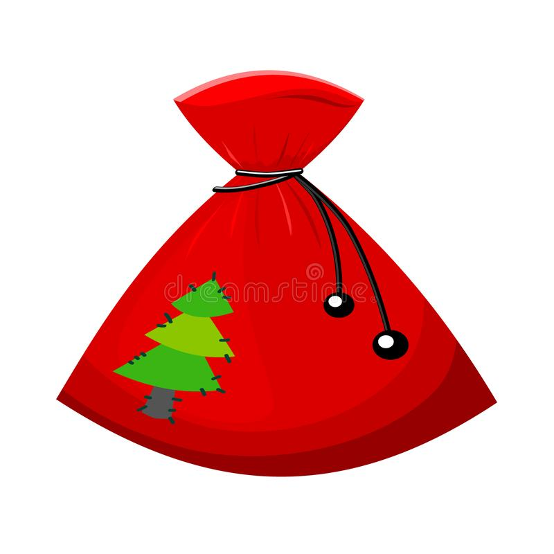 Red christmas bag for gifts. Vector illustration stock illustration