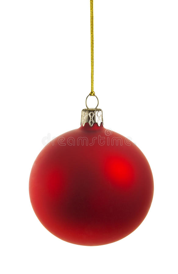 Red christmas ball. Perfect christmas ball isolated on white background, CLIPPING PATH included royalty free stock images