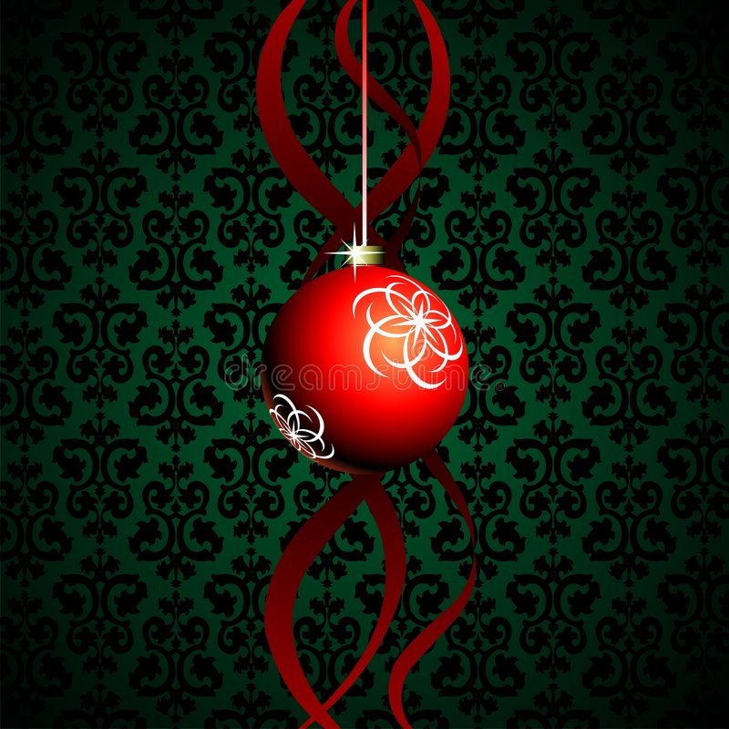 Red christmas ball. Green background with red christmas ball stock illustration