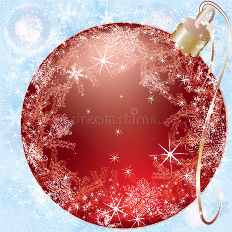 Download Red Christmas Ball On A Blue Background Stock Vector - Image: 17146447