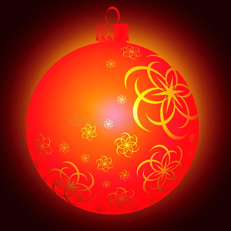 Red Christmas ball decoration with graceful ornament on dark background royalty free stock image