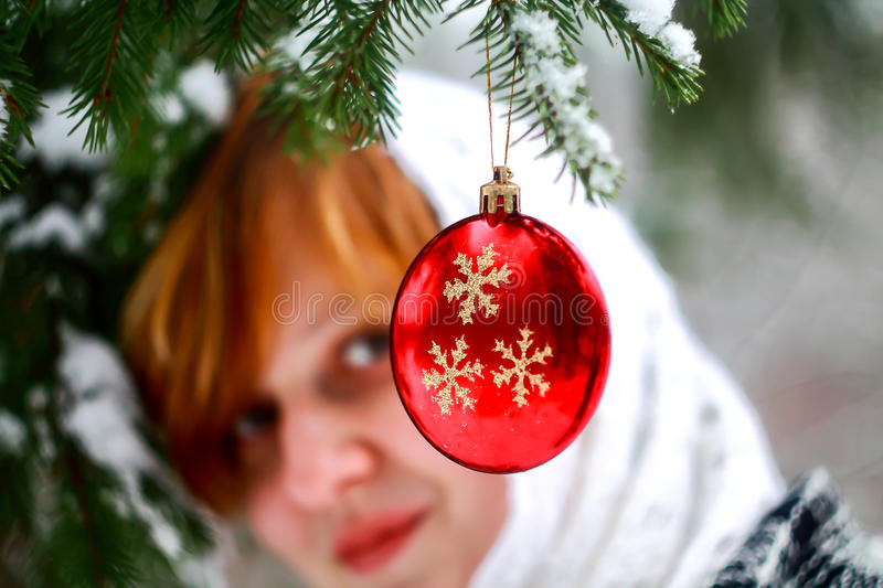 Red Christmas Ball on a Fir Tree royalty free stock photos