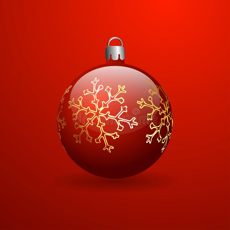 Red Christmas Ball with golden snowflake. Red background with a gradient. Three-dimensional ball royalty free illustration