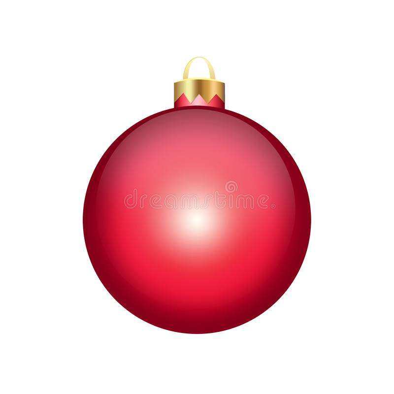 Red Christmas ball isolated on white. Background stock illustration