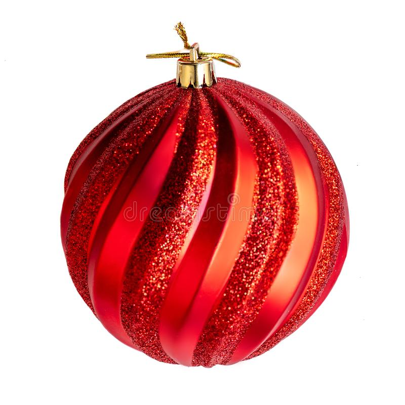Red Christmas ball isolated on white background close up. Merry. Christmas Decorations, macro stock photo