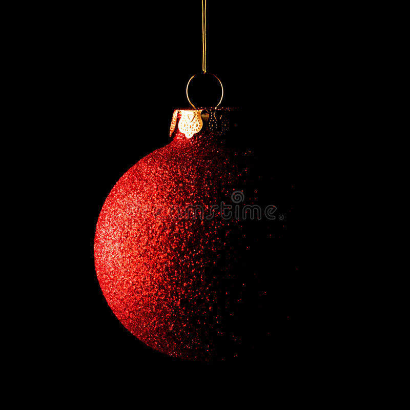 Free Red Christmas Ball On Black Background. Greeting Card Royalty Free Stock Photography - 62417517