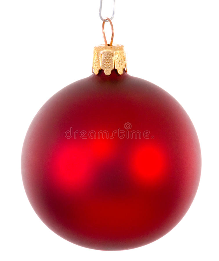 Red christmas ball ornament brightened stock photos