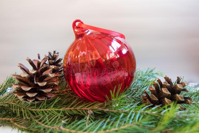 Red Christmas ball with pine cons on blurred branch of Christmas tree stock images