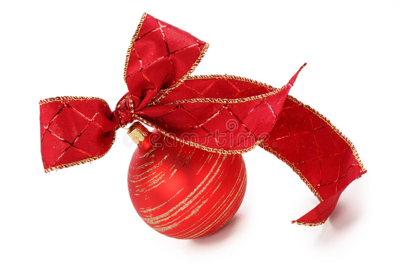 Red christmas ball with red bow. Isolated on white background royalty free stock photography