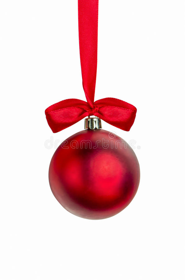 Red Christmas ball with red ribbon with clipping path. Red Christmas ball with red ribbon hanging isolate on white background with clipping path, Christmas royalty free stock image