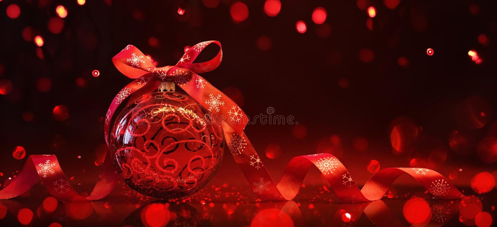 Red Christmas Ball With Reflection and Light Effects royalty free stock image