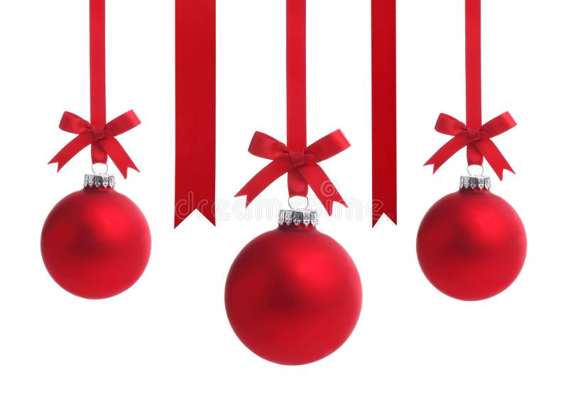 Red Christmas ball with ribbon bow stock images
