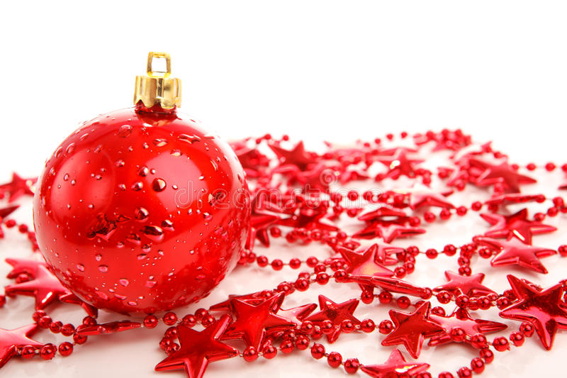 Red Christmas Ball On Stars Isolated Royalty Free Stock Photos