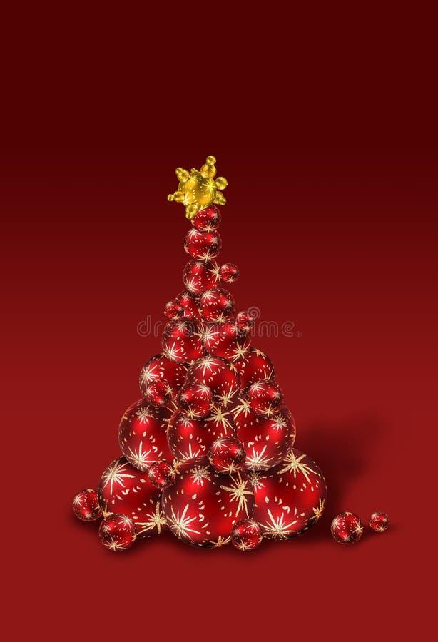 Red Christmas ball tree stock image
