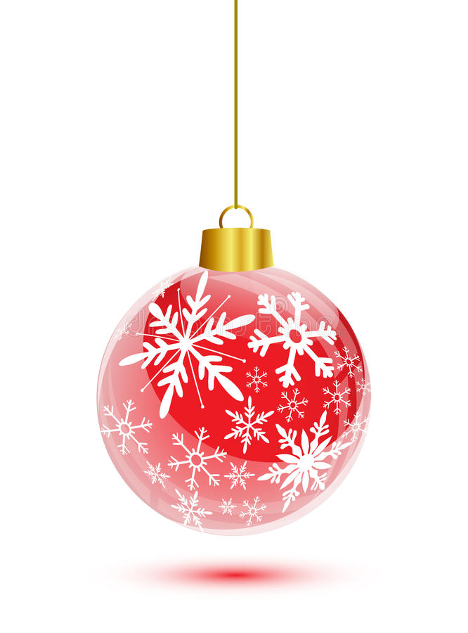 Free Red Christmas Ball With Snowflakes Pattern Stock Image - 27922311