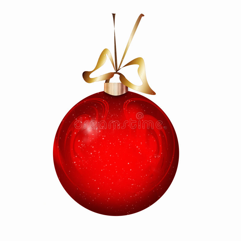 Red Christmas ball. Red Christmas xmas ball bauble bulb isolated on white royalty free illustration