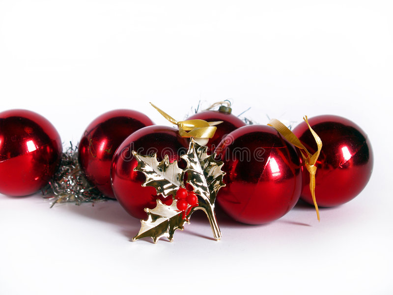 Red christmas balls stock images