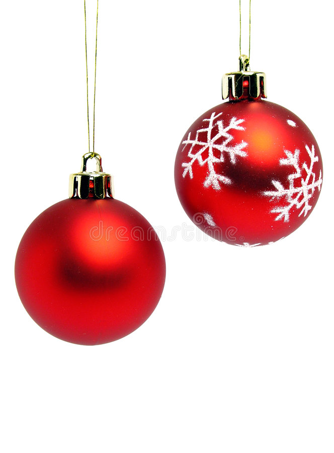 Red christmas balls. Two red christmas balls - isolated royalty free stock photo