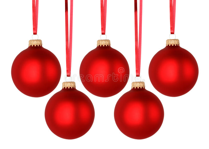 Red Christmas balls. Isolated on white background stock photo
