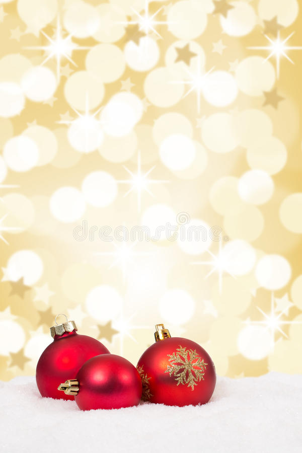 Red Christmas balls background stars gold golden decoration card royalty free stock photos