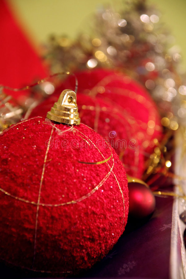 Red Christmas balls (baubles)