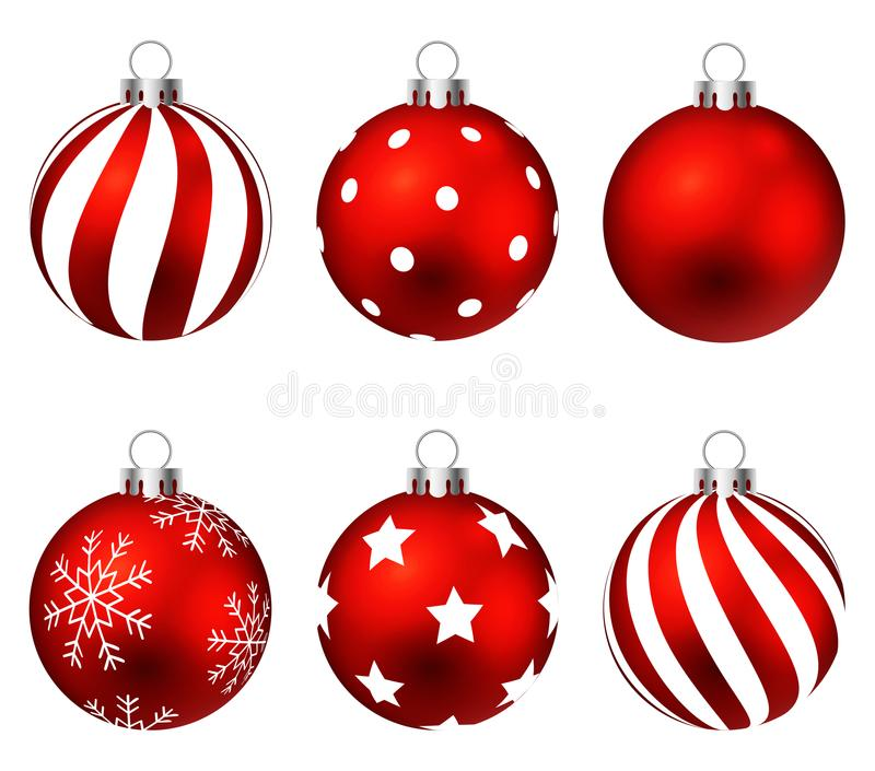 Red christmas balls on gift bows isolated on white. Set. illustration. stock photo