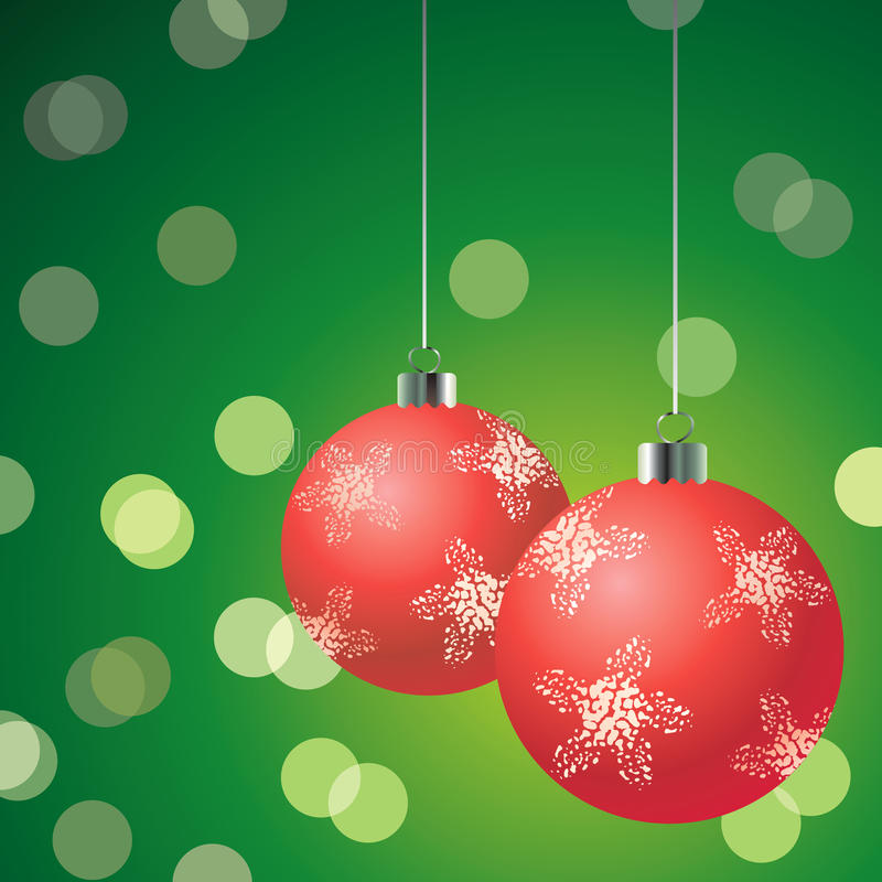 Download Red Christmas Balls On The Green Background Stock Vector - Image: 16868944